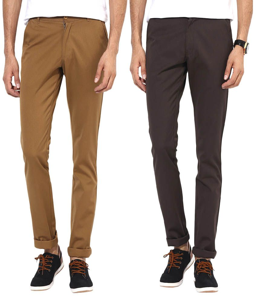 Bukkl Multicolor Slim Fit Chinos - Pack of 2