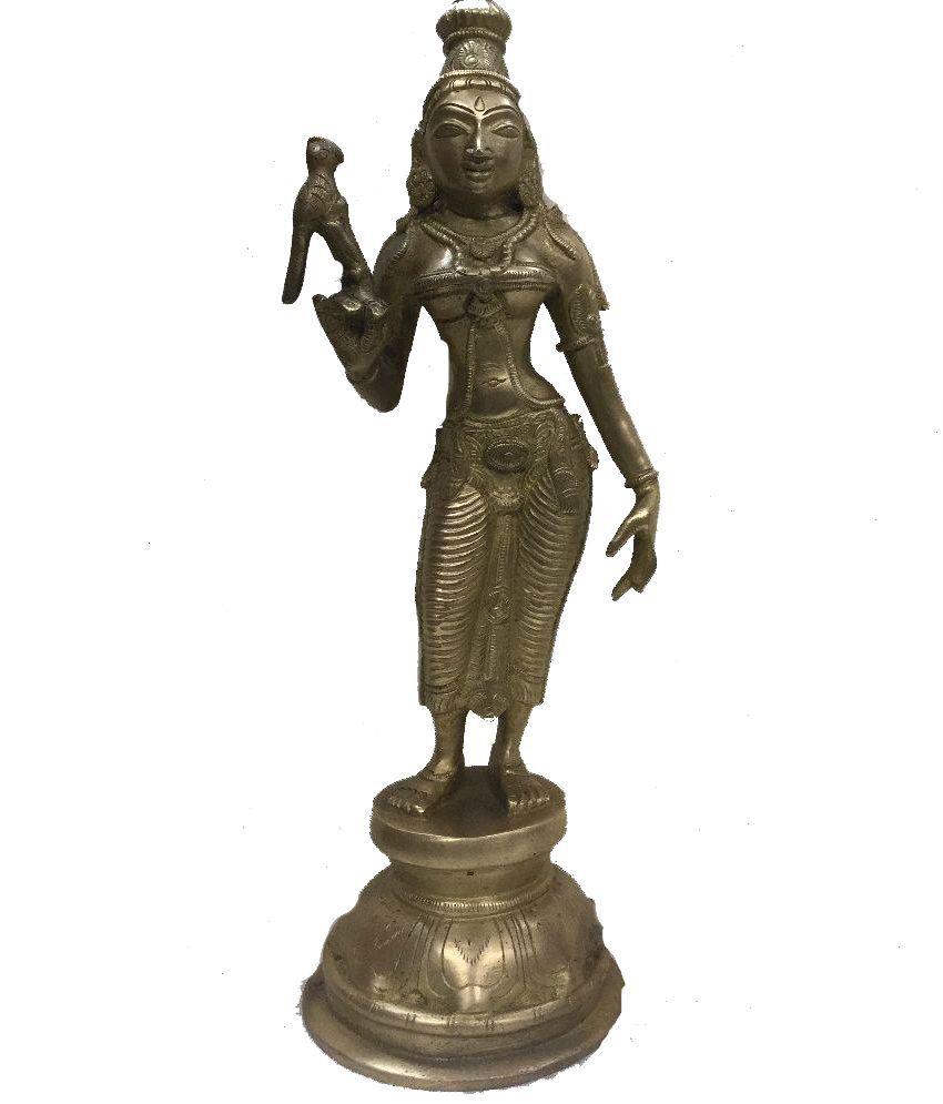 Indian Arts Museum Glossy Meenakshi Of Madurai Brass Statue