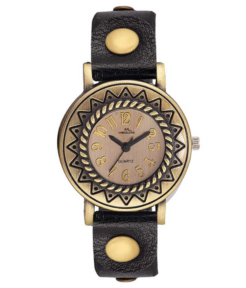 Meclow Black Leather Analog Watch