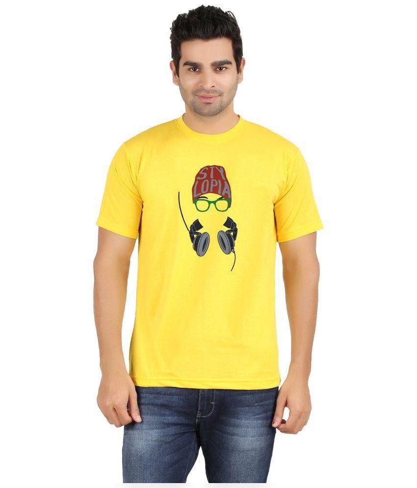 SnowFox Yellow Cotton T-Shirt