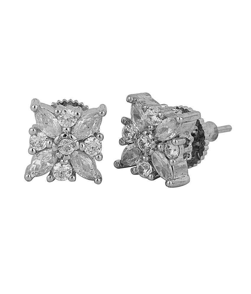 Voylla Silver Alloy Cz Stud Earrings