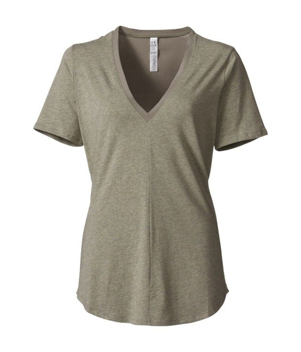 Under Armour Grey Women's SUP Plunge V-Neck Short Sleeve Shirt