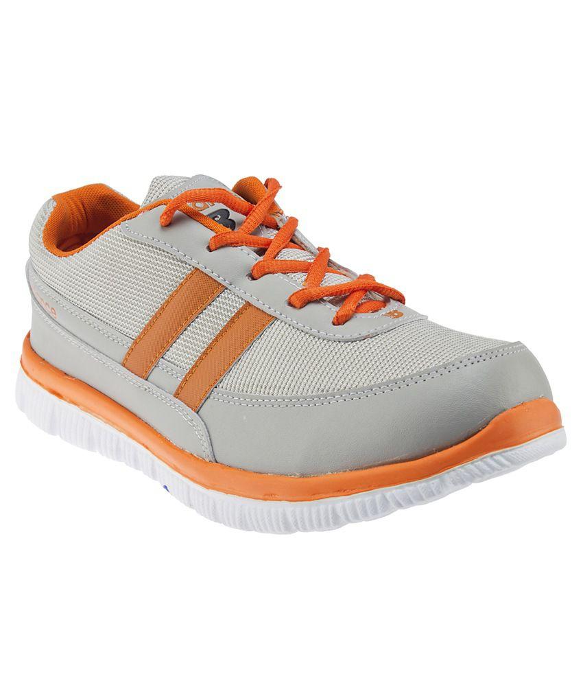 Ziesha Grey And Orange Sports Shoes