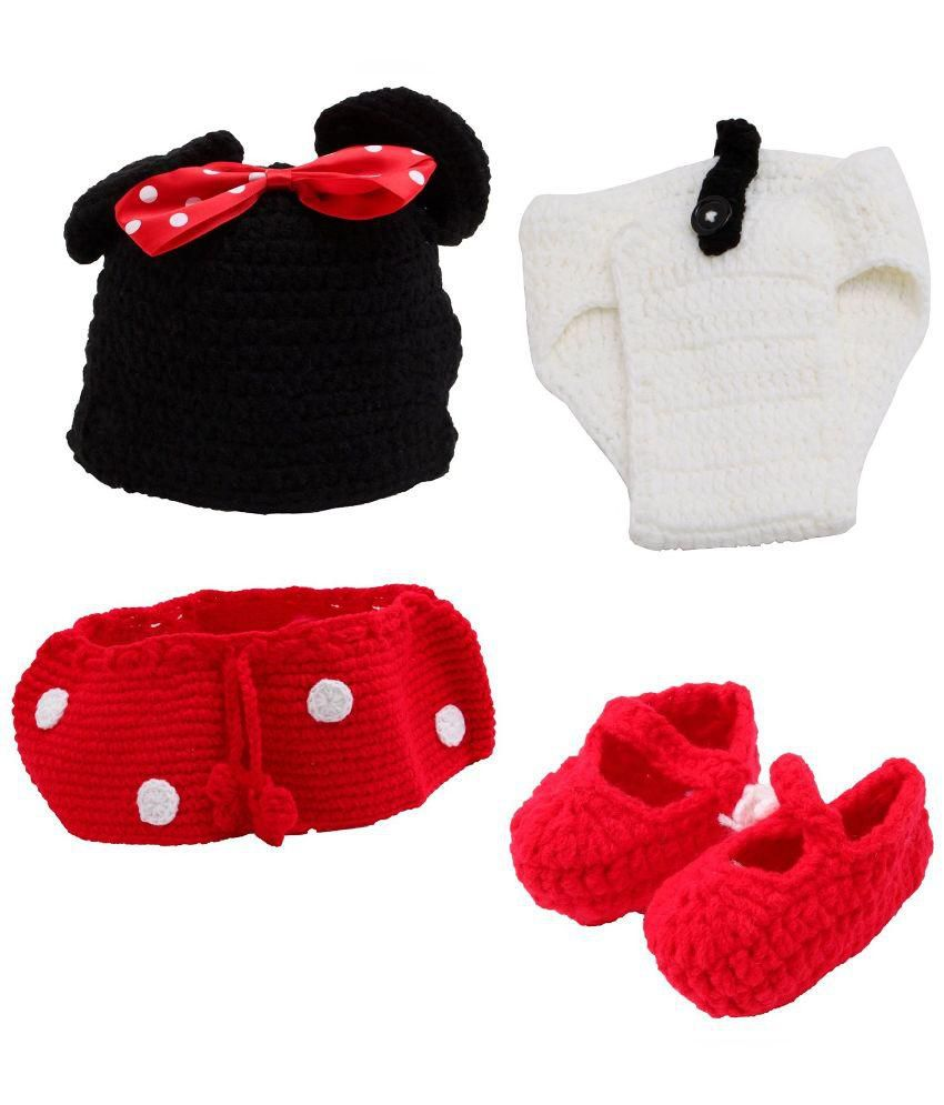 Kuhu Creations Multicolour Handmade Minnie Mouse Crochet Costume For Infants
