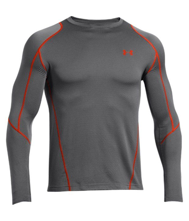 Under Armour Grey Men's ColdGear Infrared Grid Crewneck Long Sleeve Shirt