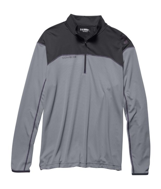 Under Armour Grey and Blue Men's Combine Training Quarter Zip Long Sleeve Shirt (Pack of 2)