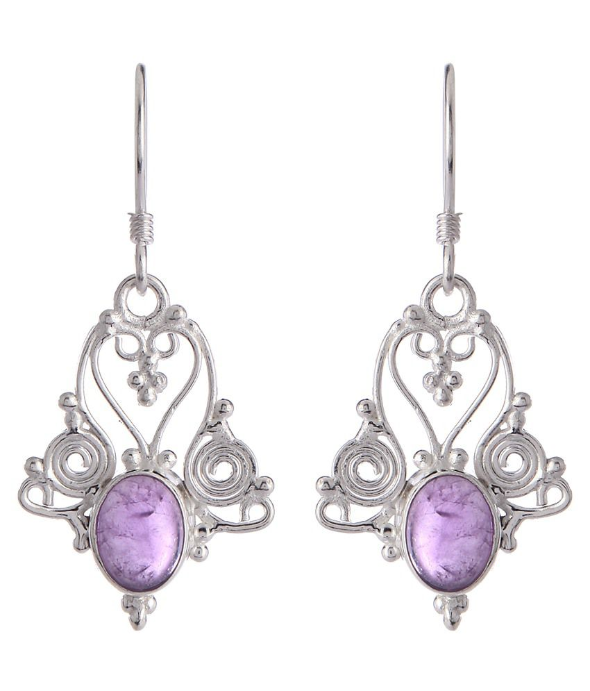 Thingalicious Purple & Silver Alloy Hanging Earrings
