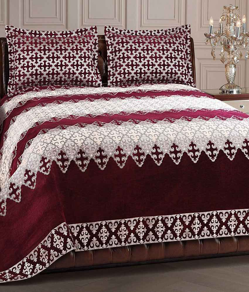 victor multicolor chenille bed cover with 2 pillow covers buy