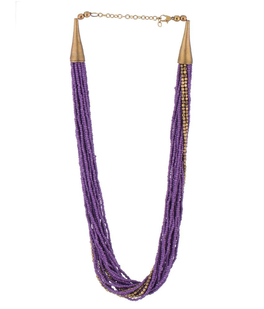 Voylla Purple Alloy Crystal Necklace