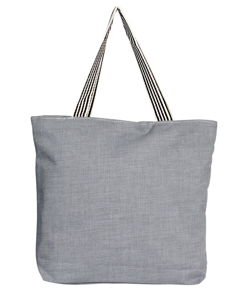 Jcm Grey Canvas Tote Bag - Buy Jcm Grey Canvas Tote Bag Online at ...