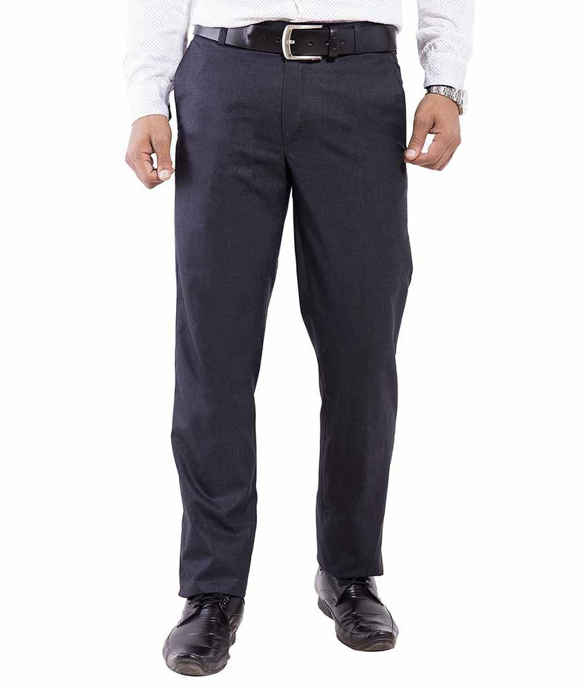 Pure Grade Black Cotton Formal Pleated Trousers
