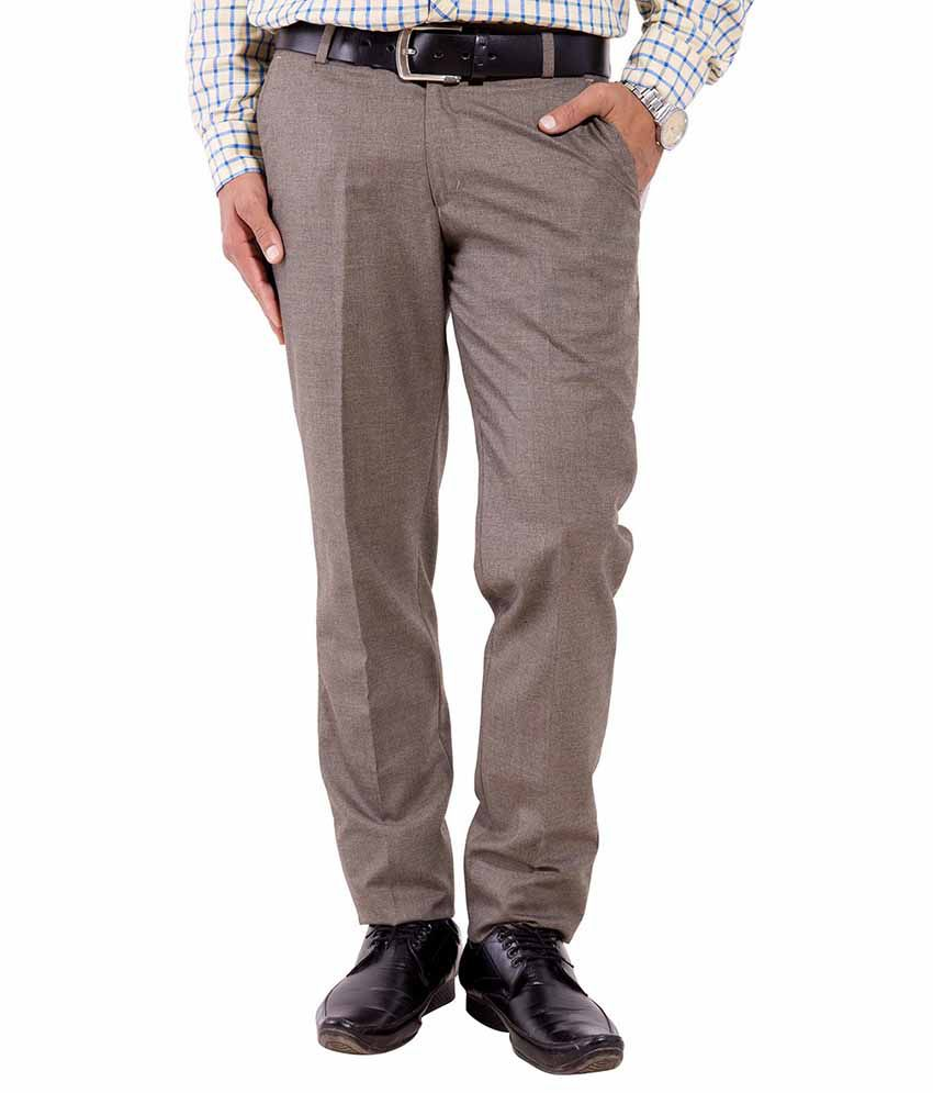 Pure Grade Brown Cotton Formal Pleated Trousers