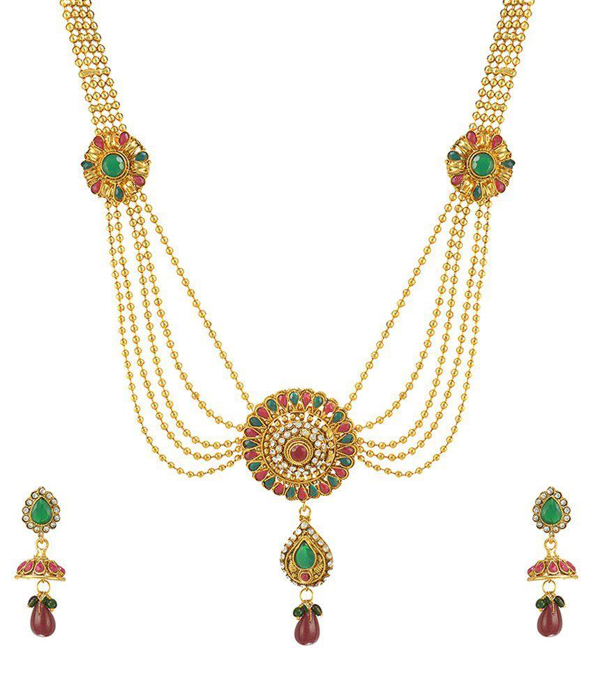 The Pari Gold Alloy Necklace Set