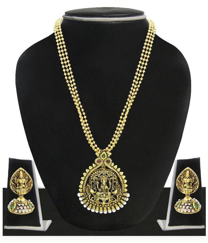 Zaveri Pearls Golden Alloy Necklace Set
