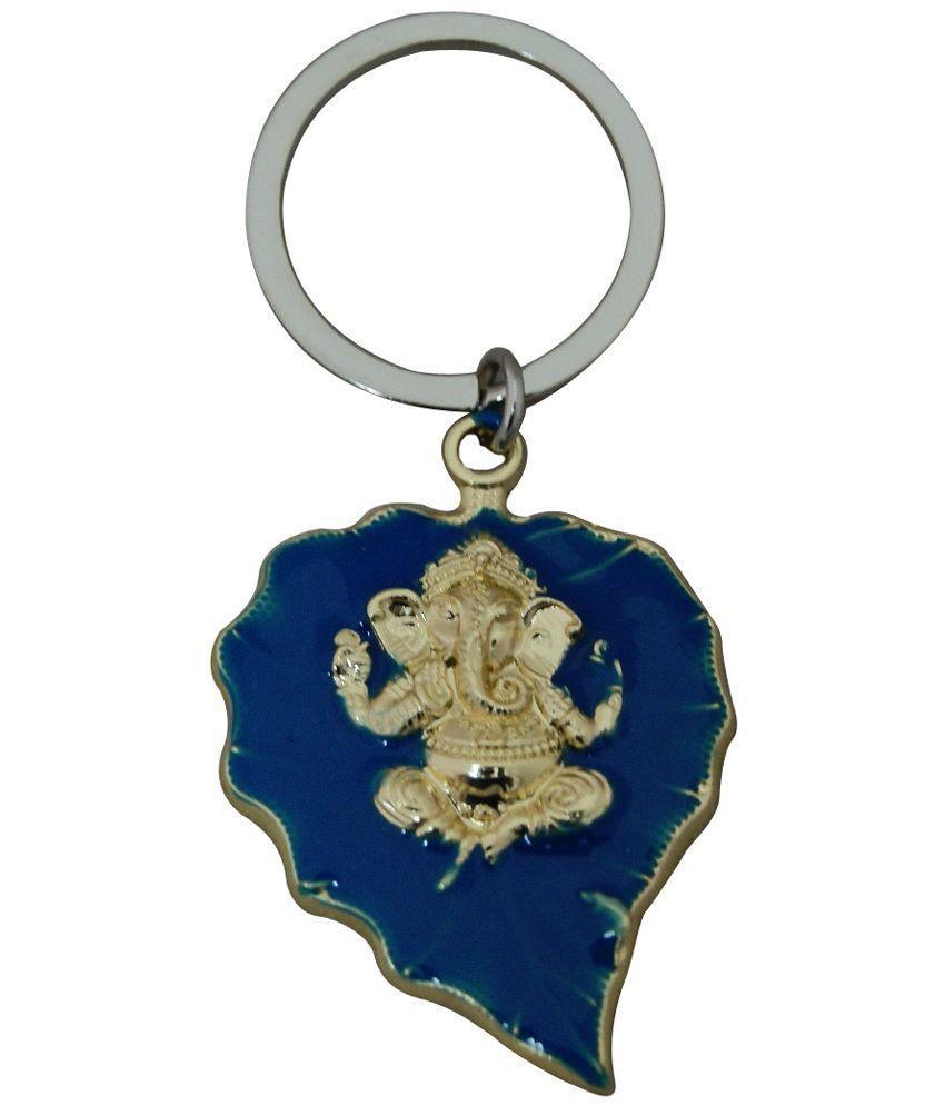 Divya Mantra Ganesha Leaf Keychain - Blue