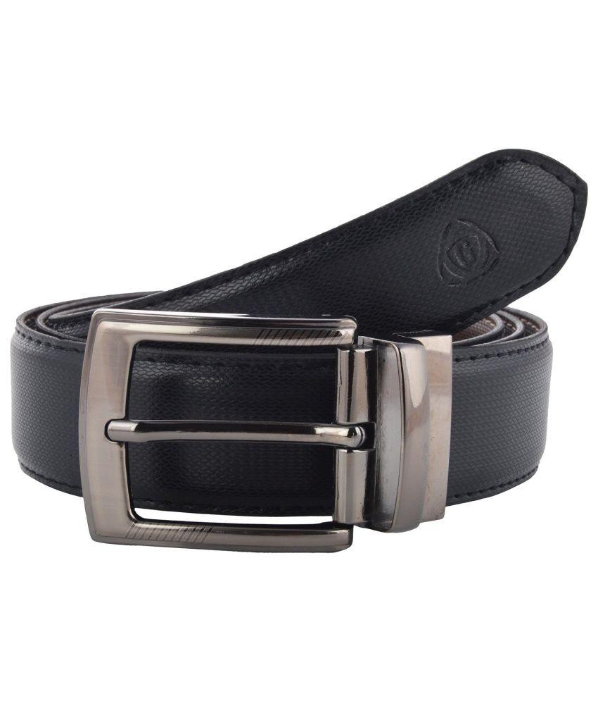 Garvan Black & Brown Leatherite Reversible Belt for Men