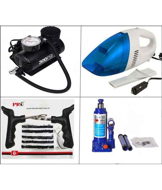 Grind Sapphire High Pressure Blue Jack, Air Pump, Punture Kit Portable Car Vacuum Cleaner