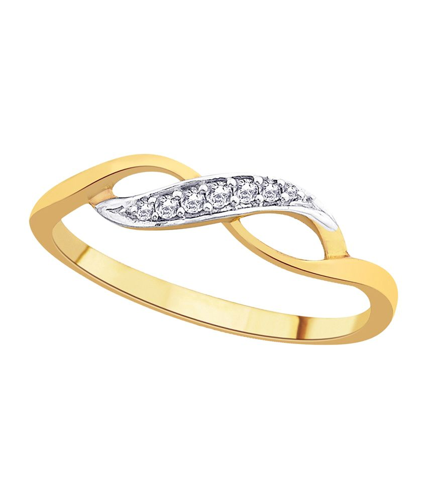 Asmi 18kt Golden Diamond Studded Bis Hallmark Ring