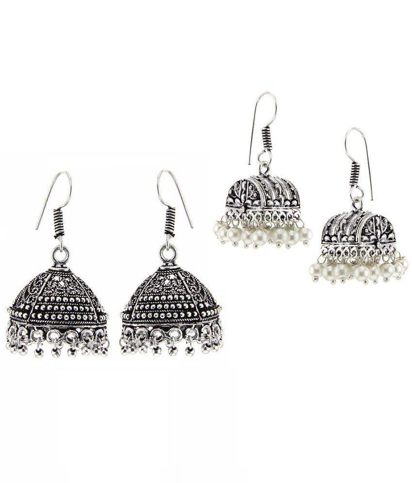 Kaizer Jewelry Combo of Kaizer High Quality German Silver Jhumki Earrings