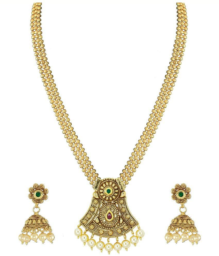 Zaveri Pearls Beautiful Pearl & Kundan Necklace Set