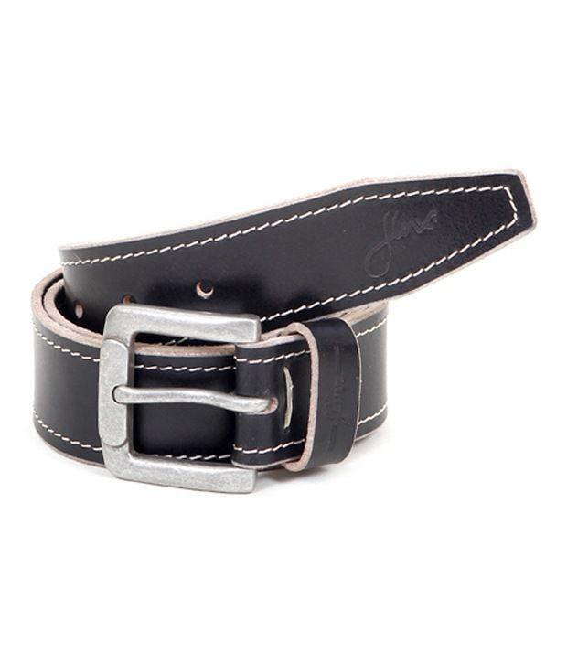 Flinx Black Leather Casual Belt For Men