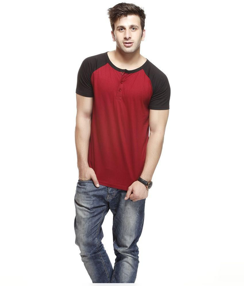 Gritstones Maroon Cotton T-Shirt