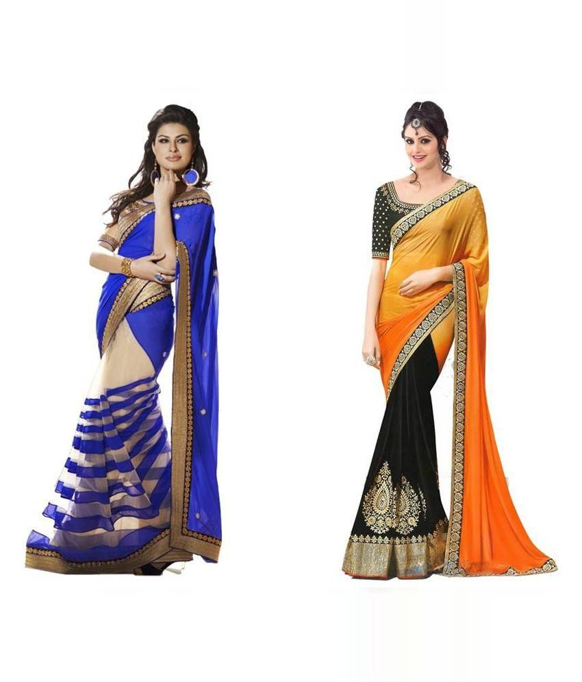 Jagdamba textiles Multicolor Faux Georgette Pack of 2