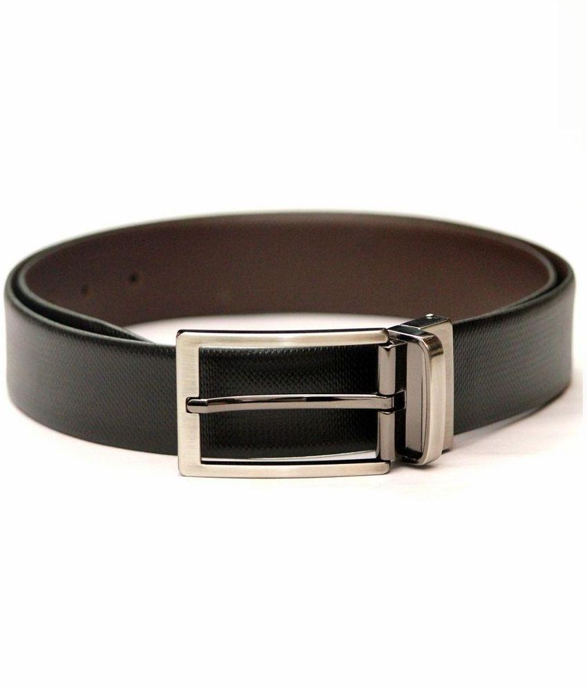 Tops Black Reversible Leather Belt for Men
