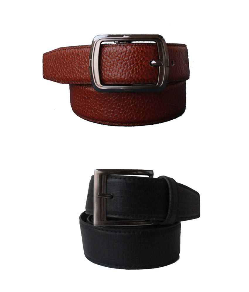 Klaska Combo Of Tan And Black Leather Belt