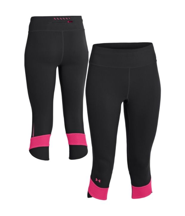 Under Armour Under Armour Black Womens Power In Pink Fly-by Compression Three Fourth