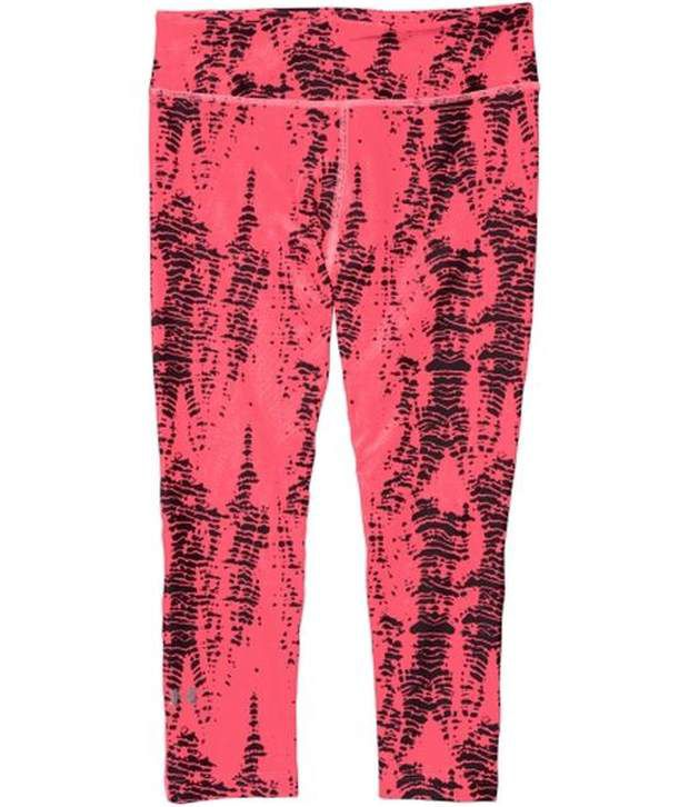 Under Armour Under Armour Pink And Blue Womens Heat Gear Alpha Compression Printed Three Fourth (pack Of 2)