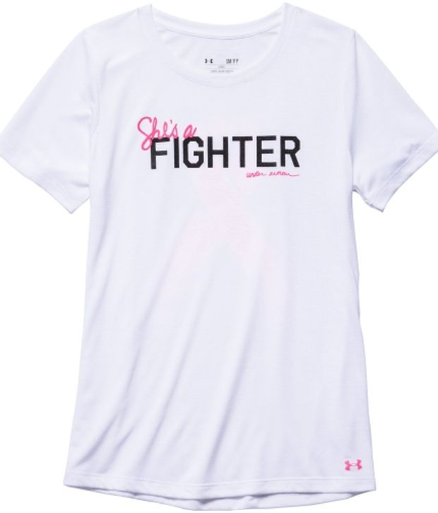 Under Armour Under Armour White Womens Power In Pink Shes A Fighter Graphic Tees