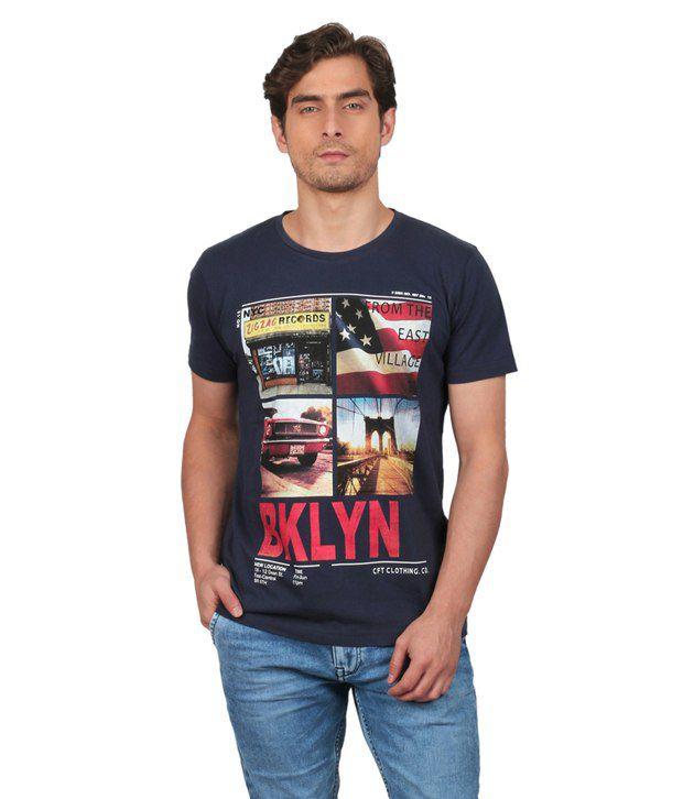 Cft Navy Blue Printed Cotton Round Neck T Shirt