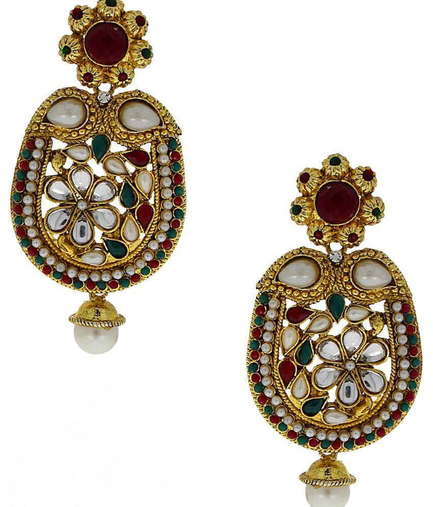 Anuradha Art Multicolour Designer Drop Earrings