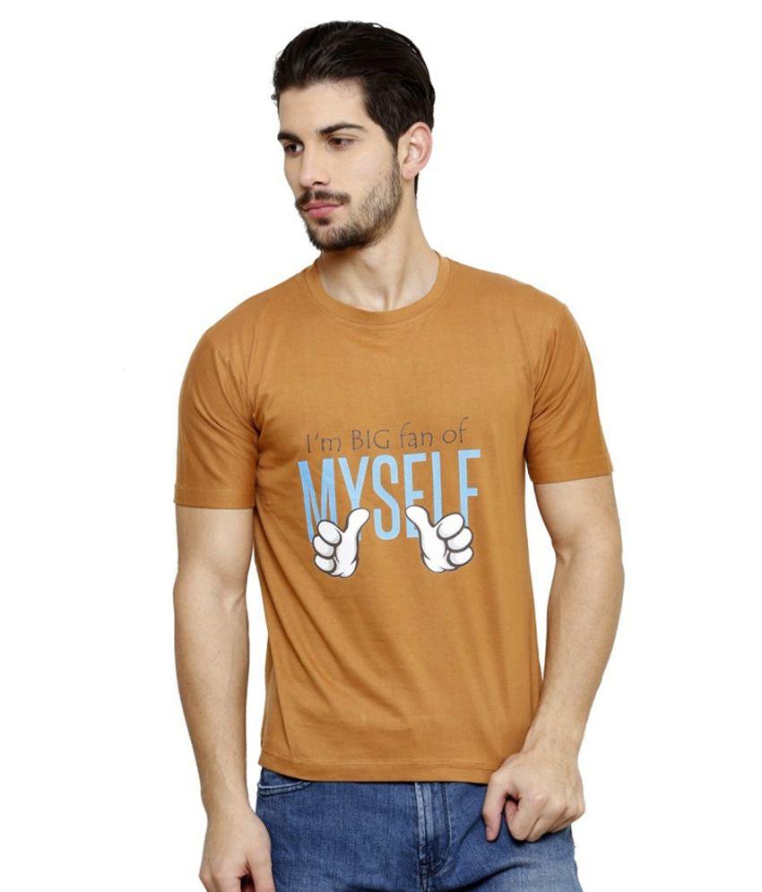 Crazy Lifestyle Brown Cotton Blend Round Neck T-shirt