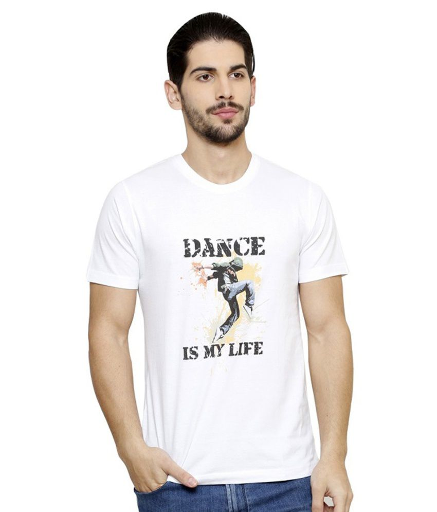 Crazy Lifestyle White Cotton Blend Round Neck T-shirt