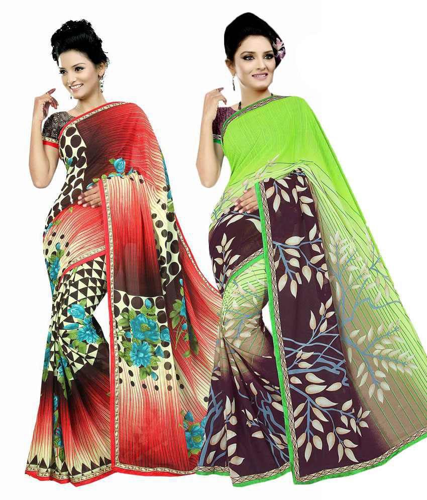 Fashion Gallery Multi Color Faux Chiffon Saree