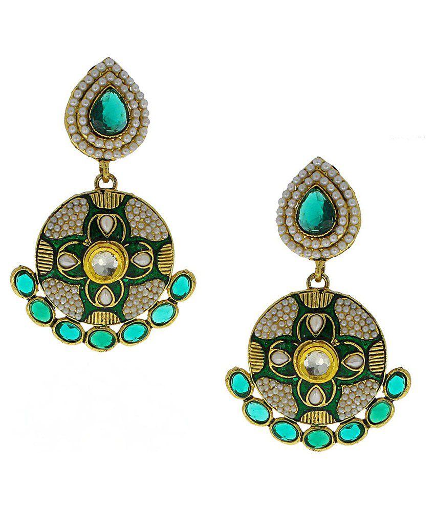 Anuradha Art Green Designer Drop Earrings