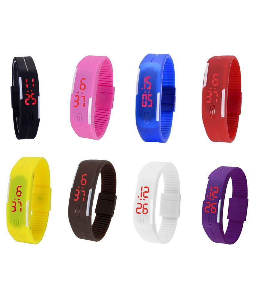 Ecbatic Multicolor Digital Kids Band Watch - Pack Of 8 ...