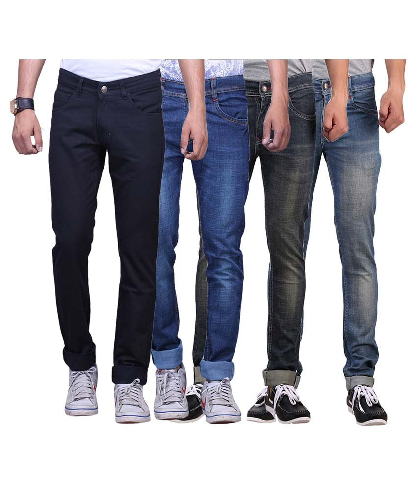 X-cross Multicolour Slim Fit Jeans - Pack Of 4