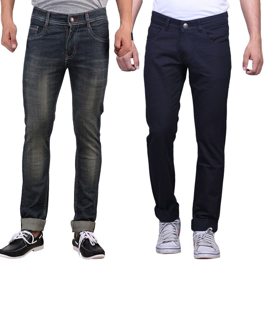 X-cross Navy Blue Slim Fit Jeans - Pack Of 2