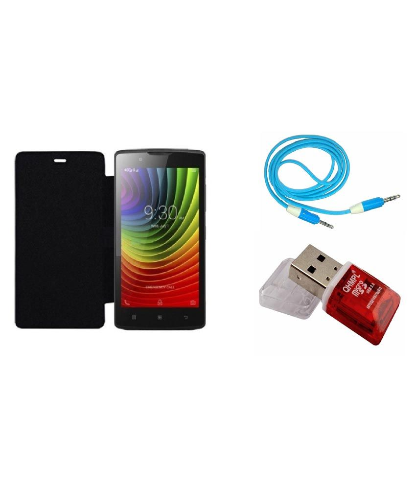Ags Flip Cover For Huawei Honor 4c-black With Aux Cable & Card Reader