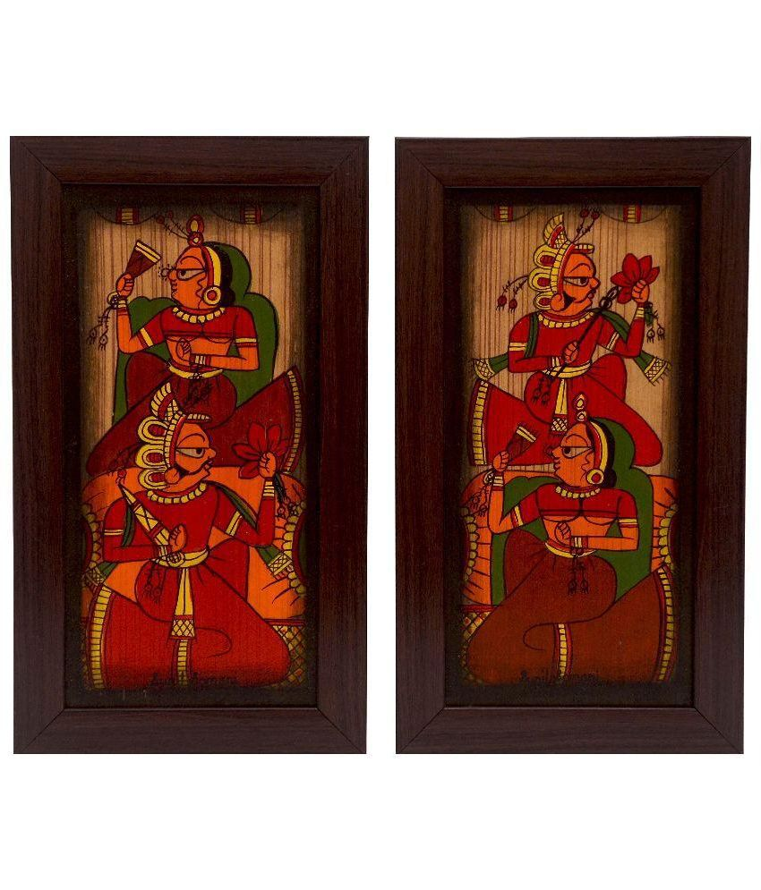 Cocovey Multicolor Wooden Wall Painting with Frame - Set of 2