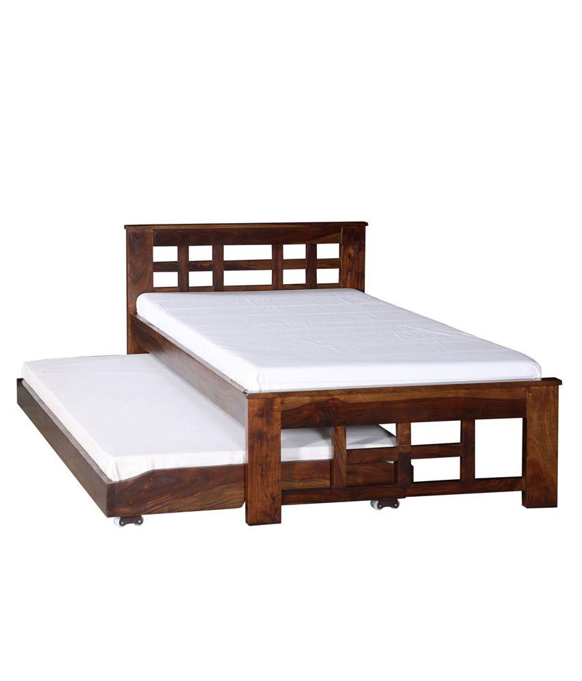 Bed home sheesham wood furnitures bed -  Ethnic India Art Deck Single Sheesham Wood Bed