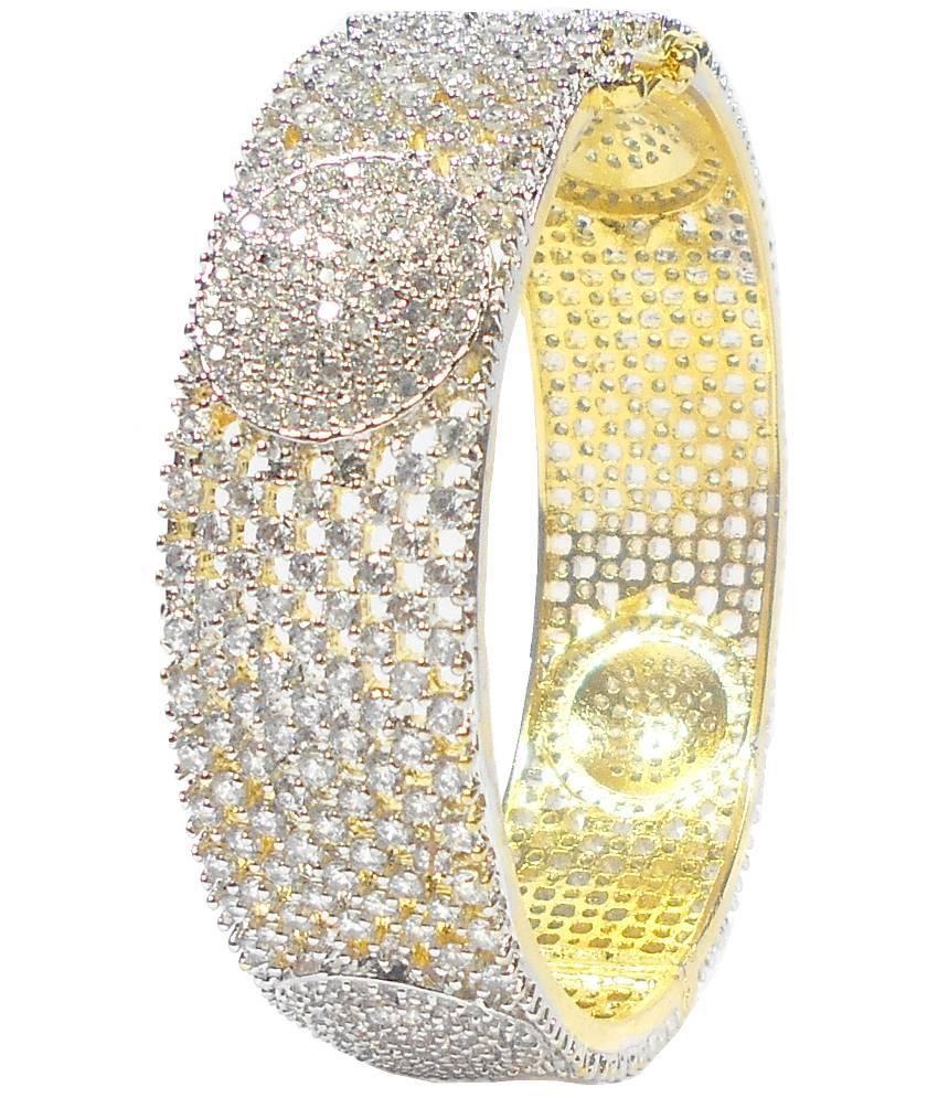 Rejewel Golden Brass American Diamond Kada