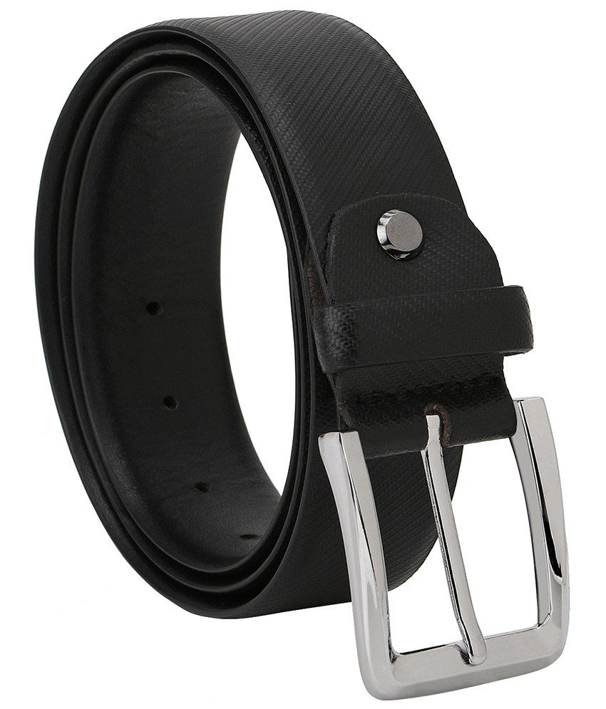 Jsj Black Leather Belt For Men