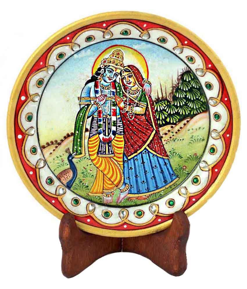Kiran Udyog Gold Minakari Marble Radha Krishna Beautiful Plate