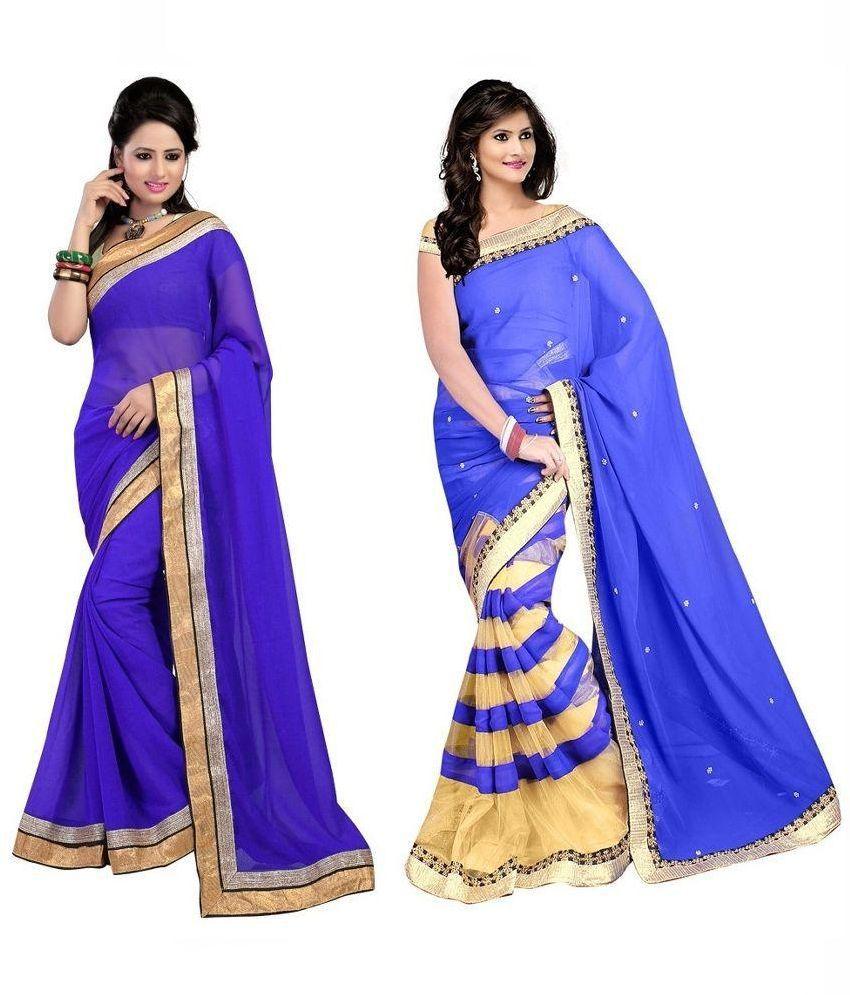 Krishna Emporia Blue Faux Georgette Pack of 2