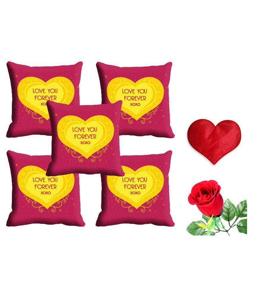 Mesleep Pink Satin Abstract Cushion Cover