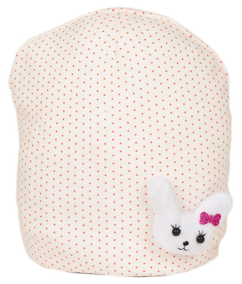 Tiekart White Cotton Baby Cap
